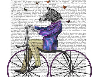 Zebra on Bicycle - Zebra picture Zebra print, Zebra Illustration Drawing Poster Digital Print Wall Art Wall Décor Wall Hanging