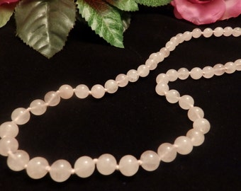 Vintage Rose Quartz  Bead Necklace Long Length
