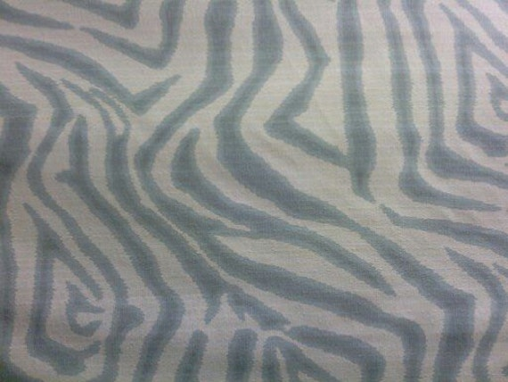 Items similar to wow high end designer light blue zebra for Designer animal print fabric