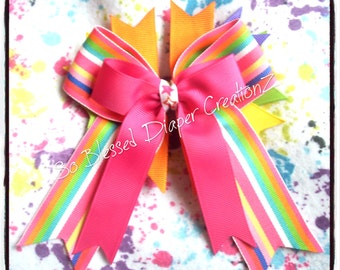 Colorful Striped Stacked Tails Down Bow