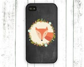 Fox iPhone Case, Chalkboard iPhone Case, iPhone 4 Case, iPhone 5 Case with Flower Wreath