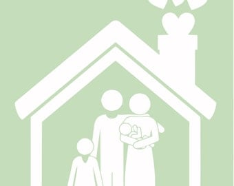 Unframed Personalized Family House Print - Personalised with Family Members