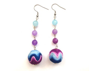 Zig zag earrings blue and purple