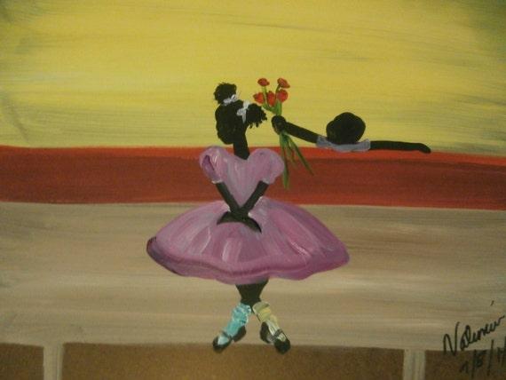 Original African American black art painting on board