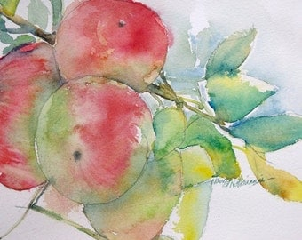 Original Watercolor Apples on the Tree