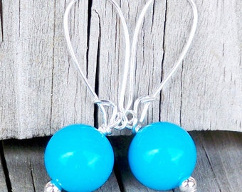 Alenna - Chunky 10mm Round Aqua Blue Beaded Silver Dangle Kidney Hoop Earrings