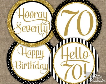 70th Birthday Cupcake Toppers - 70th Birthday Party Decorations Printable - Black Gold Glitter Elegant 70th Birthday Favor Tags 70 Years BGL