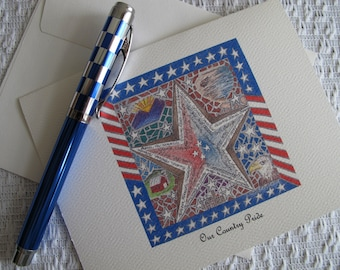 "Pen and Ink Drawing of Patriotic motif on note cards - ""Our Country Pride"""