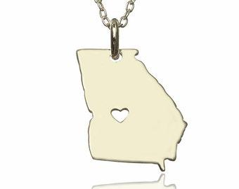 Georgia State Necklace , GA Map Necklace , Georgia Silver Necklace