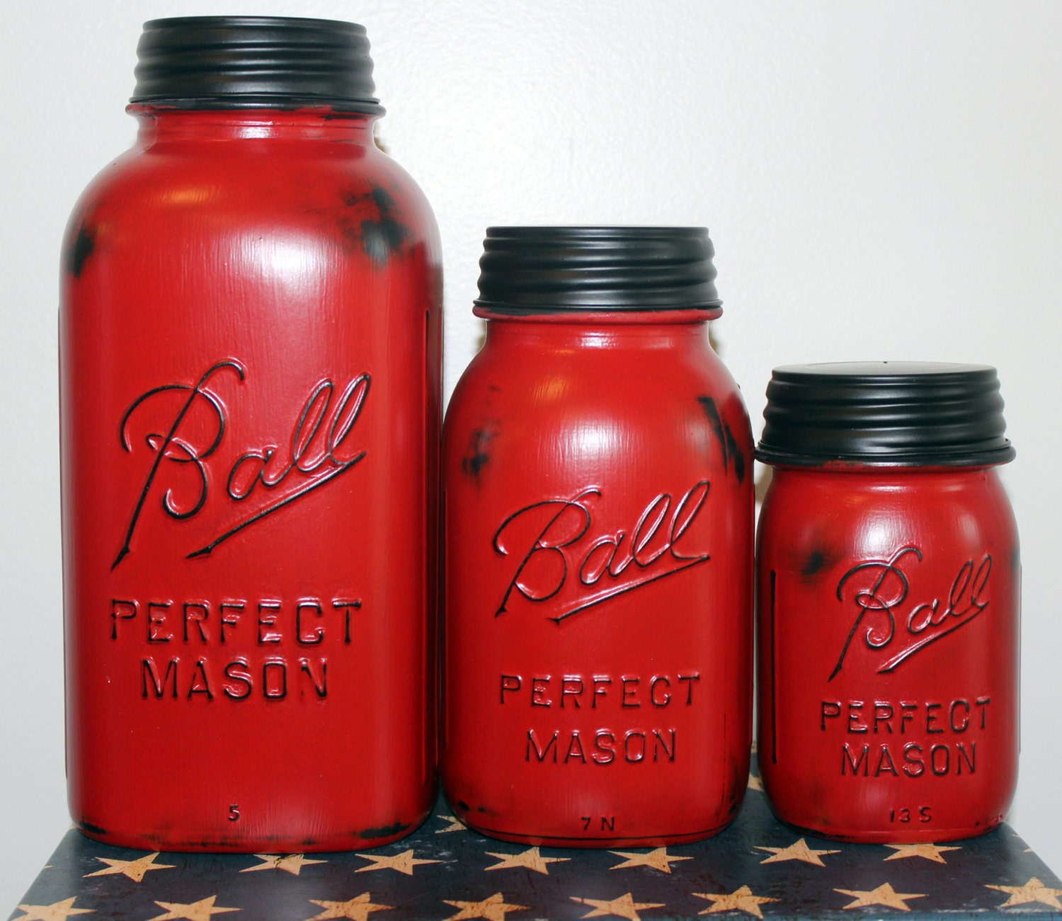 Country canister sets for kitchen - 3 Piece Red Mason Jar Canister Set Kitchen Distressed Half Gallon Quart Pint