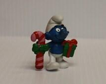 CHRISTMAS SMURF, Vintage Smurf with Candy Cane, Smurf with Christmas Gift,1982 Vintage Schleich toy, vintage Smurf figure, retro 80s toy