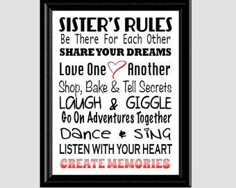 Sister's Rules Subway Art - Girls Room Decor - Teen Room Decor Print -  Instant Download PDF Digital File