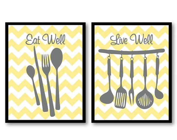 Instant download gray yellow grey kitchen wall decor set of 2 for Kitchen wall decor sets