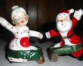 Vintage 50s Christmas Candle Climbers Commodore Mr Mrs Claus Novelty Santa Holly Decoration Kitschy