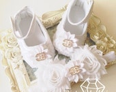 White baby girl satin crib shoes, 3-6-12-18 months baby shoes, christening, baptism shoes with matching headband