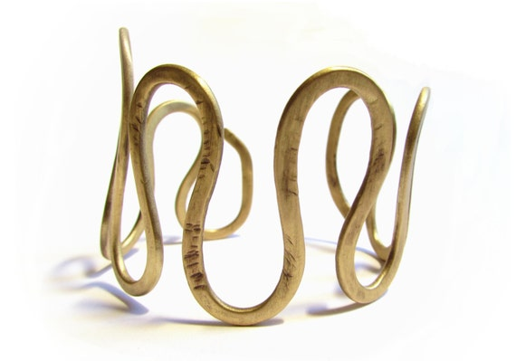 Bronze Hammered Swirl Cuff Bracelet, Metalwork Greek Design Jewelry