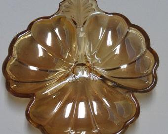 Carnival Glass Clover Leaf Amber Marigold Divided Dish