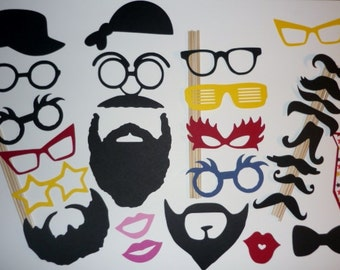 DIY Photo Booth Prop Set Hats,Beards,Glasses,Lips,Mustaches 28 Pieces (2073DC)