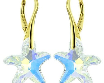 14k Gold Over 925 Sterling Silver Starfish Swarovski Crystal Leverback Earrings