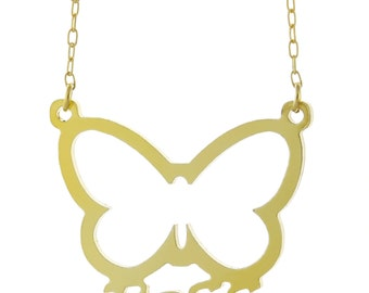 925 Sterling Silver Personalized Any Name Plate Butterfly Pendant Necklace