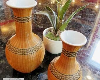 Vintage Woven Wicker over White Porcelain Vases, set of 2 (11-0065)