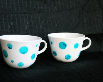 Turqouise polka-dot hand painted mugs