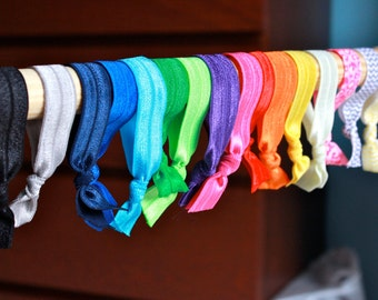 Gentle No Tug Elastic Hair Ties in 16 Colours for Yoga Ponytails, Babies, Children, Bracelets, and more