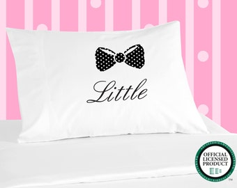 Digitally Printed Sorority Pillowcases - LITTLE with Polka Dot Bow Design
