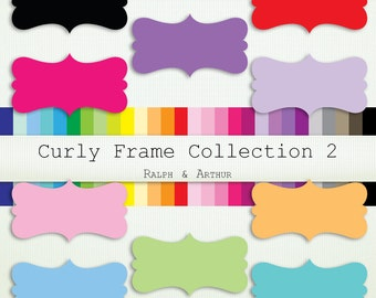 28 Curly Frames 2  Clip Art ClipArt - Personal and Commercial Use - Instant Download - Rainbow R338