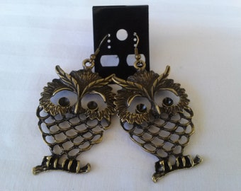 "Pair of Large "" BRONZE UNIQUE OWL"" Intricately Detailed Dangle Earriings"