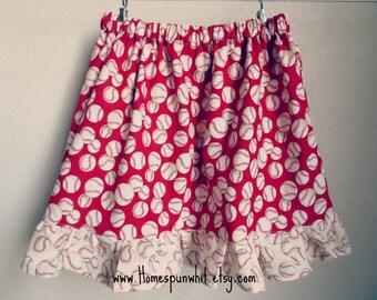 Baseball Girls Skirt, Girls Skirt, Baseball Skirt, Girls Elastic Waist Skirt, STL Cardinals, Cardinals Skirt, 3T Skirt, 4T Skirt, 5T Skirt