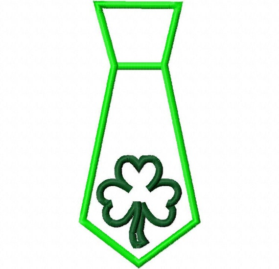 St. Patrick's Day Tie Boy Shamrock Applique Design  Machine Embroidery Design 4x4 and 5x7