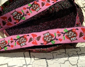 "3/8"" Woven OWL Brown and PINK Jacquard ribbon sold by the yard"
