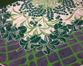 Gorgeous mid century design French cotton round tablecloth heavy quality lovely colors