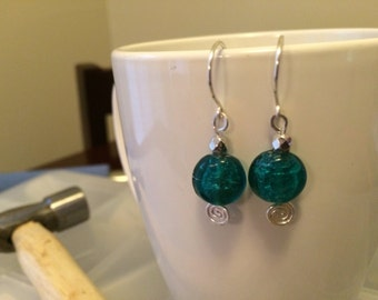 cute handmade spiral dangle sterling silver blue foil earrings