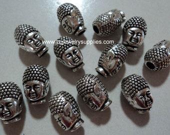 Pewter buddha beads silver tone 12 pcs lot l