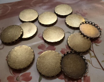 25mm round brass ox closed back lace edge cameo cab settings 12 pieces lot lD