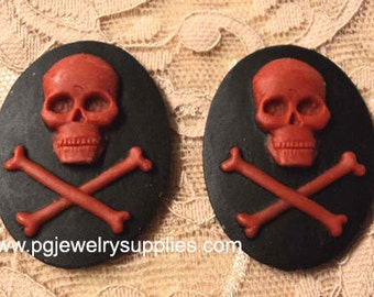 40mm x 30mm oval resin cameo skull and bones pirate 2 pc lot
