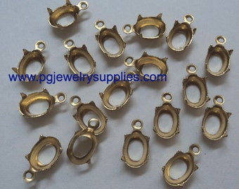 8mm x 6mm oval brass prong pendant settings cabochons cameos open back OB1R 18 pc lot l