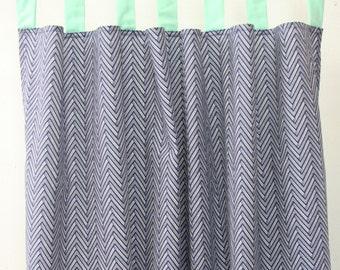 Mint and Navy Chevron Curtain Panels