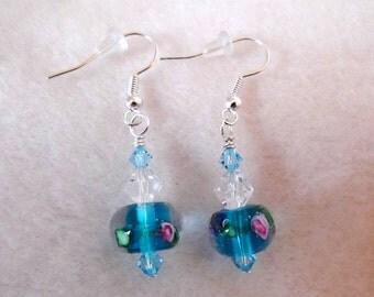 Blue Lampwork and Crystal Earrings - Birthday Anniversary Gifts - Bridal Jewelry - Floral Lampwork Beads - Pierced Earrings