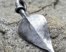 Hand Forged Steel Tree Leaf Pendant Jewel Necklace Talisman Amulet