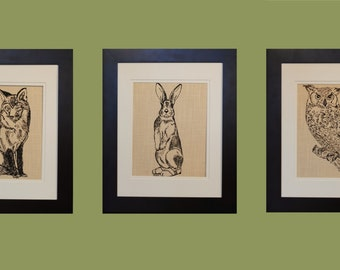 Animal Wall Decor Set of 3 - Animal Prints - Wilderness Kitchen Decor - Rustic Wall Decor - Unique Wall Art - Print on Canvas -Gift Registry