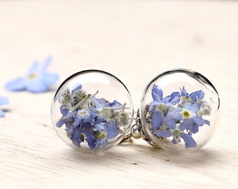 925 Silver Earrings with forget-me-not - E233