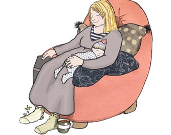 SNOOOZE  printed card of mother and baby snuggled up  fast asleep in a comfy chair together. The perfect card to welcome a  new baby.