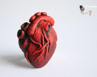 Human heart adjustable ring.