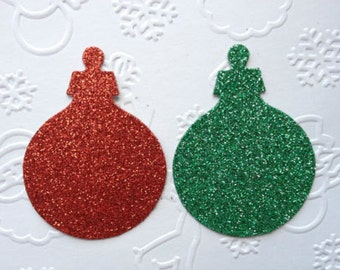 16 Red & Green Glitter christmas bauble ornament die cuts for cards toppers cardmaking scrapbooking craft projects