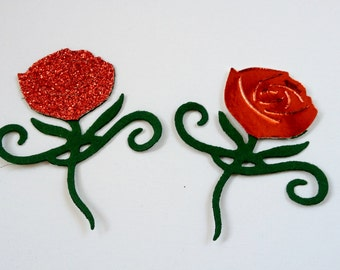 10 glitter/shiny Assembled Rose flower Die cut card toppers for valentines love themed cards/cardmaking