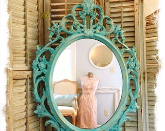 ORNATE MIRROR Large Shabby Cottage Chic Turquoise Blue Chalk Paint Mirror, Bathroom Nursery Baroque Wall Hanging Mirror