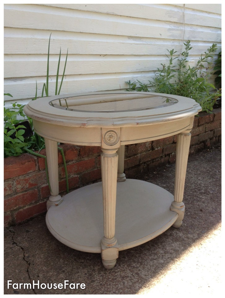 french linen chalk paint end table round wood painted side
